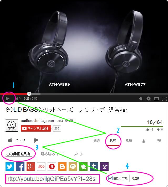 Youtubeで安易に途中から再生させるURLをコピーする方法