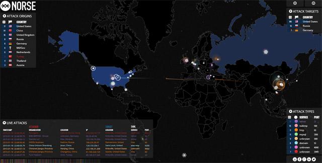 サイバー攻撃をリアルタイムでトラッキングするサイト
