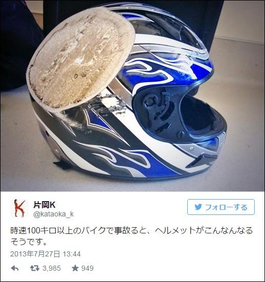 事故したヘルメット