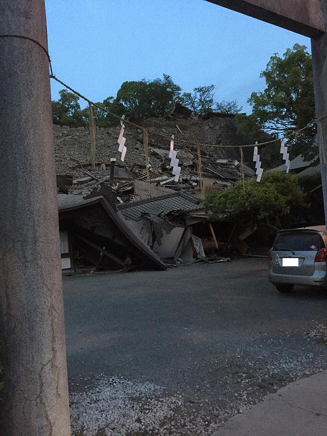 熊本市内神社 地震