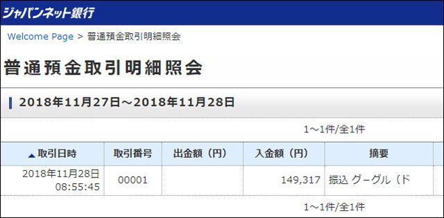 グーグルアドセンス 2018/11月分 収益