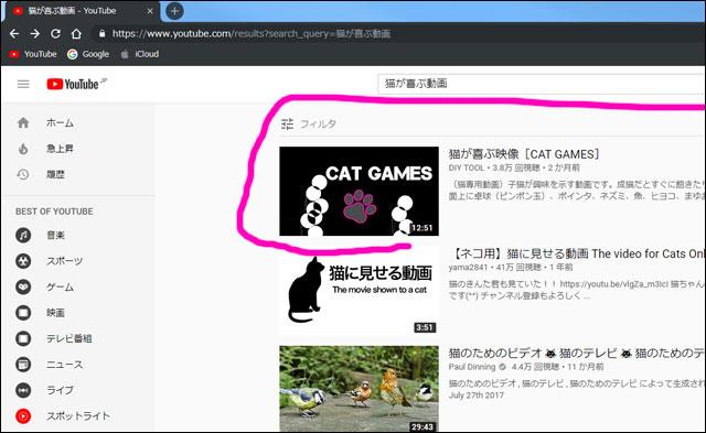 youtubeの検索順位で1位になった動画